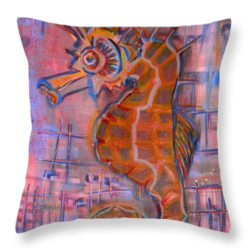 Sea Life Throw Pillow featuring the painting Seahorse Sandy by L Cecka