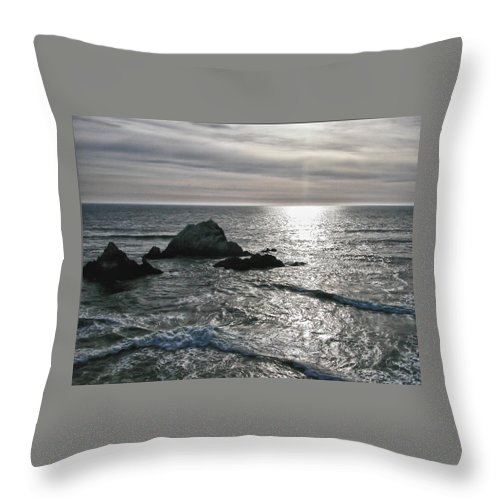Rocks Throw Pillow featuring the photograph Seal Rocks 0824 by Guy Whiteley