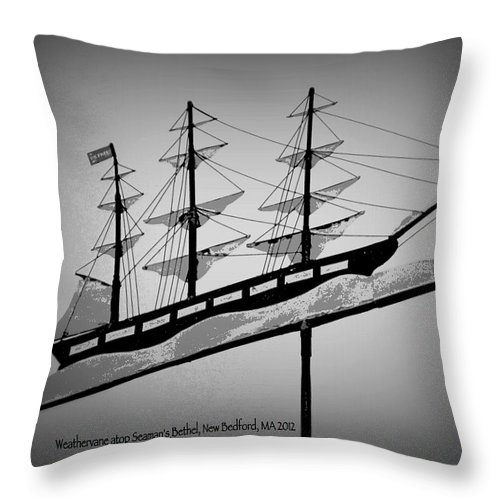 Weathervane Throw Pillow featuring the photograph Seaman's Bethel Weathervane by Kathy Barney