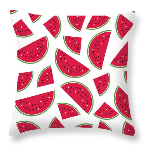 Art Throw Pillow featuring the digital art Seamless Colorful Pattern With Red by Ekaterina Bedoeva