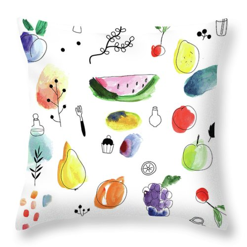 Cherry Throw Pillow featuring the digital art Seamless Pattern With Fruits, Berries by Loliputa