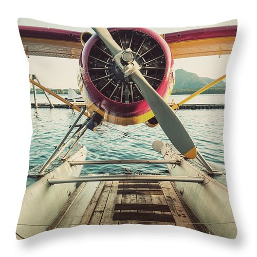 Propeller Throw Pillow featuring the photograph Seaplane Dock by Shaunl