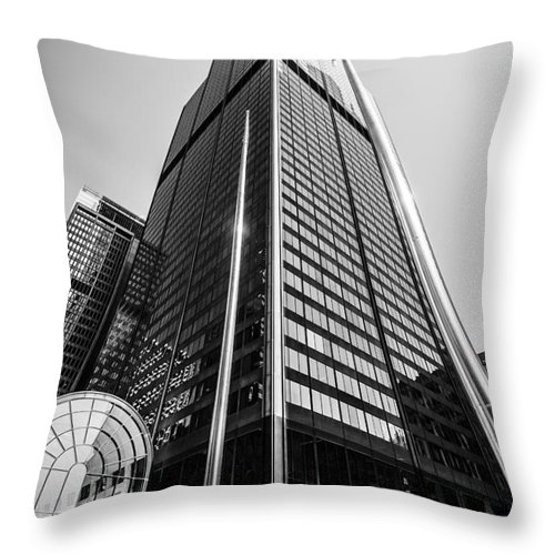America Throw Pillow featuring the photograph Sears Willis Tower Chicago Black And White Picture by Paul Velgos