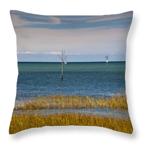 Rock Harbor Throw Pillow featuring the photograph Seascape 3 by Dennis Coates