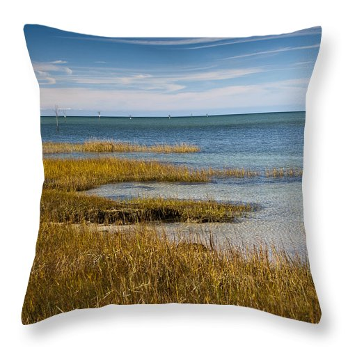 Rock Harbor Throw Pillow featuring the photograph Seascape 4 by Dennis Coates
