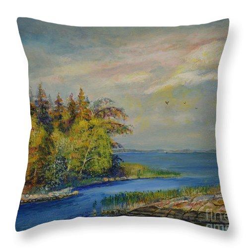 Raija Merila Throw Pillow featuring the painting Seascape From Hamina 3 by Raija Merila