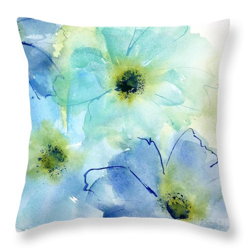 Original Watercolors Throw Pillow featuring the painting Seashell Cosmos 2 by Chris Paschke