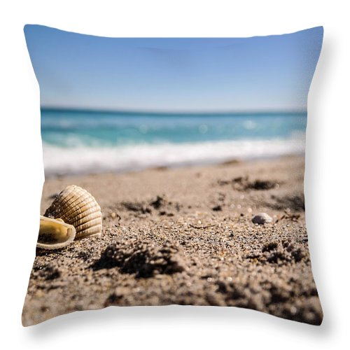 Shells Throw Pillow featuring the photograph Seashells At The Shore by Tammy Lee Bradley