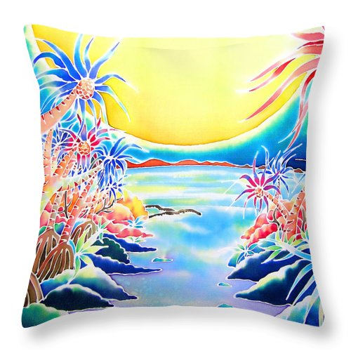 Okinawa Throw Pillow featuring the painting Seashore In The Moonlight by Hisayo Ohta