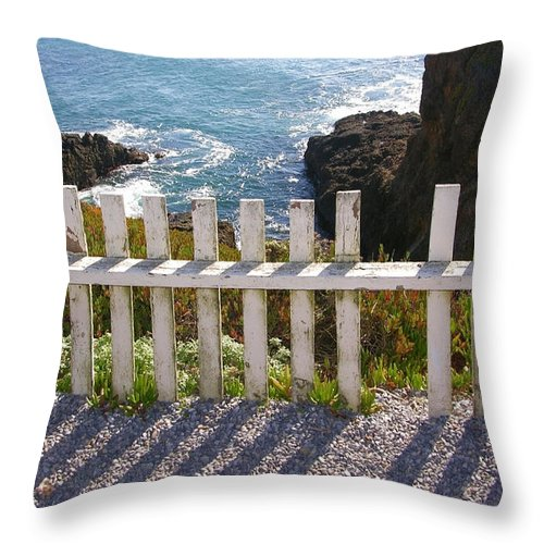 Seaside Throw Pillow featuring the photograph Seaside Fence by Carol Groenen
