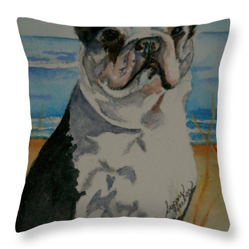Animal Throw Pillow featuring the painting Seaside Harold by Susan Herber