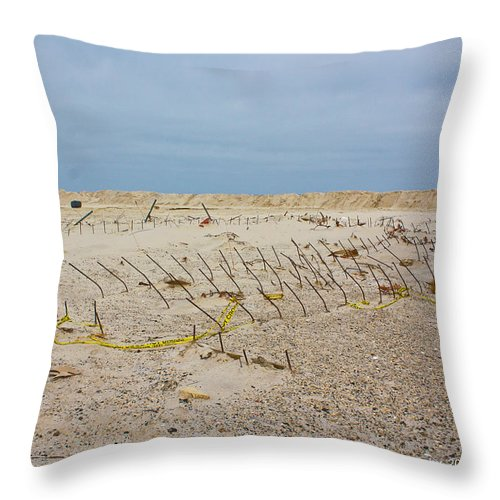 Seaside Heights Throw Pillow featuring the photograph Seaside Heights...beyond The Dunes. After Hurricane Sandy by Ann Murphy