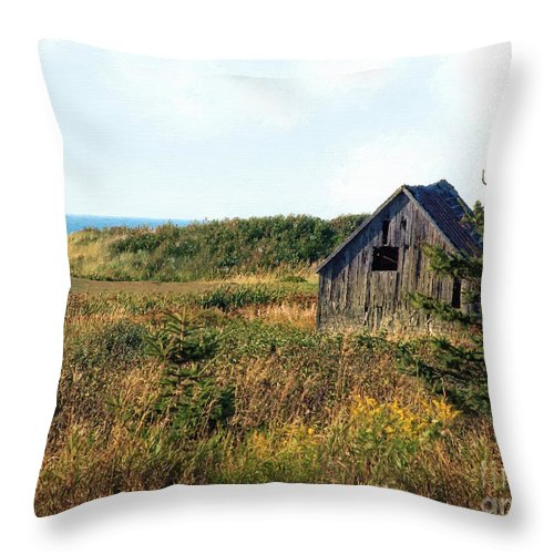 Landscape Throw Pillow featuring the painting Seaside Shed - September by RC DeWinter
