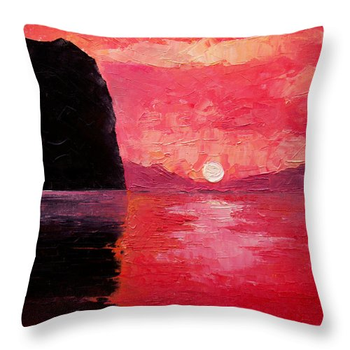 Landscape Throw Pillow featuring the painting Seaside Sunset by Sergey Bezhinets