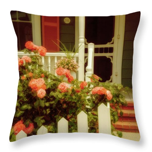 (architecture Or Architectural) Throw Pillow featuring the photograph Seaside Victorian Cottage by Debra Fedchin