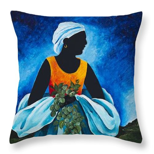 Scarf Throw Pillow featuring the painting Season Quenepe by Patricia Brintle