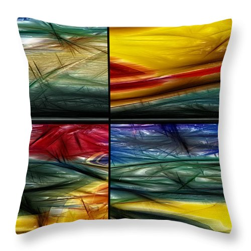Abstract Throw Pillow featuring the digital art Seasons by John Saunders