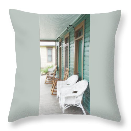 Porch Throw Pillow featuring the photograph Seating For Five by John Anderson