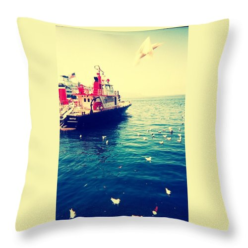Water Throw Pillow featuring the photograph Seattle Boat by Barbara Christensen