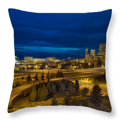 Seattle Throw Pillow featuring the photograph Seattle Downtown Skyline And Freeway At Twilight by Jit Lim
