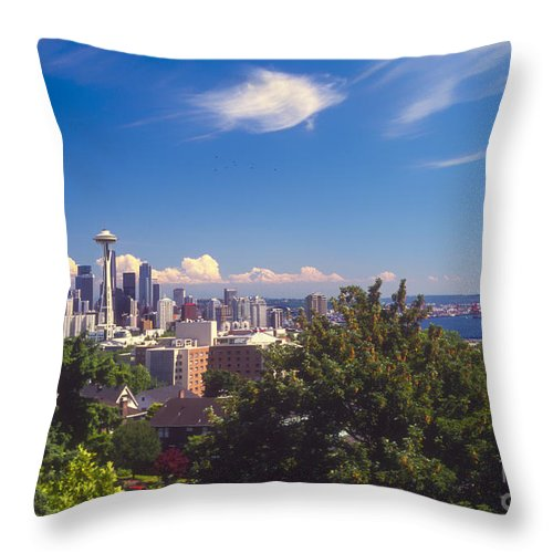 Seattle Throw Pillow featuring the photograph Seattle From Queen Anne Hill by Bob Phillips