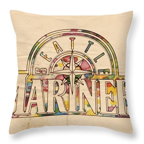 Seattle Mariners Throw Pillow featuring the painting Seattle Mariners Poster Art by Florian Rodarte