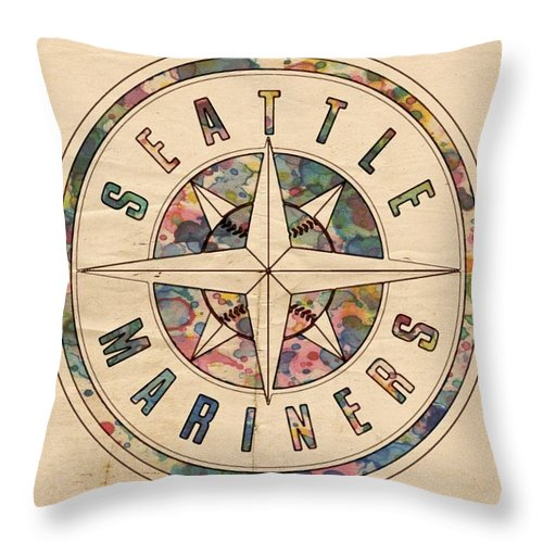 Seattle Mariners Throw Pillow featuring the painting Seattle Mariners Poster Vintage by Florian Rodarte