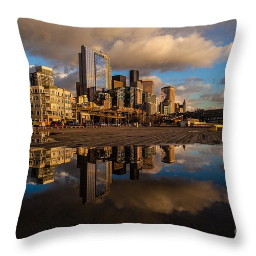 Pier Throw Pillow featuring the photograph Seattle Pier Sunset Clouds by Mike Reid