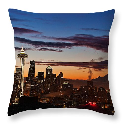 Seattle Throw Pillow featuring the photograph Seattle Sunrise by Mike Reid