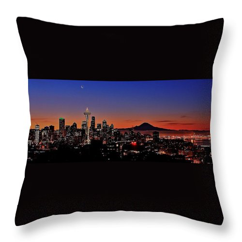 Seattle Throw Pillow featuring the photograph Seattle Sunrise Panorama by Benjamin Yeager