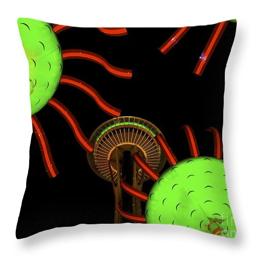 Seattle Throw Pillow featuring the photograph Seattle's Sonic Bloom by Lisa Telquist