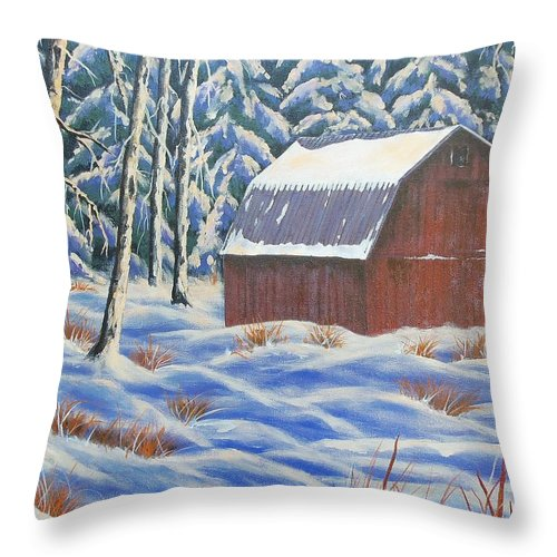 Sue Delain Throw Pillow featuring the painting Secluded Barn by Susan DeLain