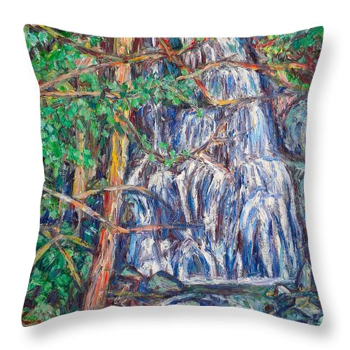 Waterfall Throw Pillow featuring the painting Secluded Waterfall by Kendall Kessler