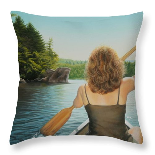 Realistic Throw Pillow featuring the painting Secret Cove by Holly Kallie