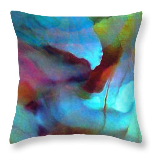 Large Abstract Throw Pillow featuring the digital art Secret Garden - Abstract Art by Jaison Cianelli