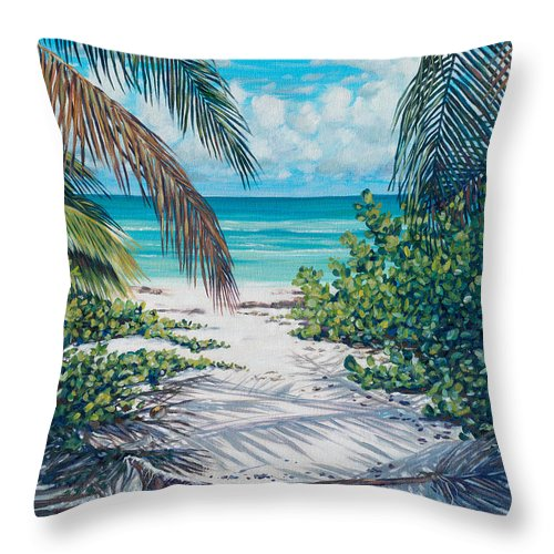 Coastal Throw Pillow featuring the painting Secret Path by Danielle Perry