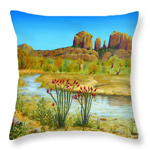 Sedona Throw Pillow featuring the painting Sedona Arizona by Jerome Stumphauzer