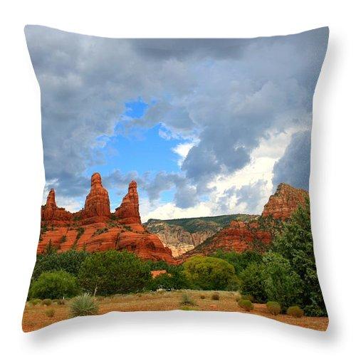 Arizona Throw Pillow featuring the photograph Sedona Spires by Miles Stites