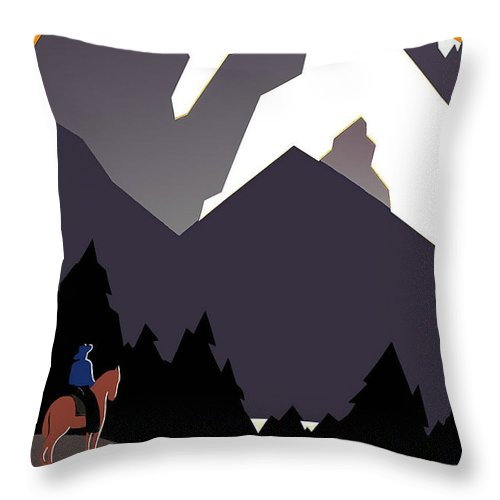 Montana Throw Pillow featuring the mixed media See America Montana by David Wagner