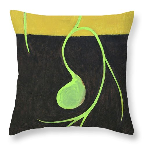 Nature Throw Pillow featuring the painting Seed Shoot by Carrie MaKenna