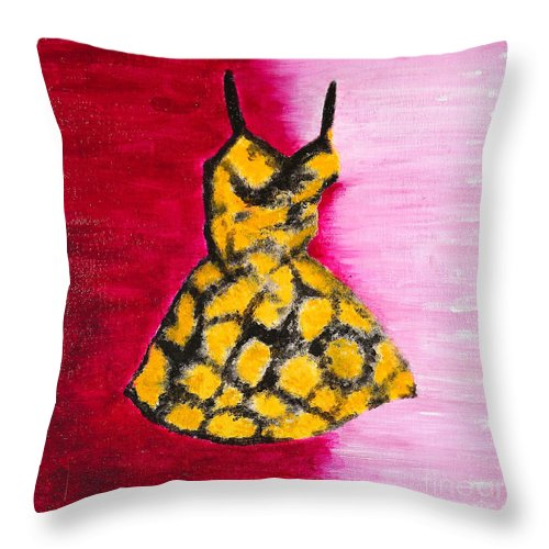 Abstract Throw Pillow featuring the painting Seeing Spots by Dawn Marie Forsyth