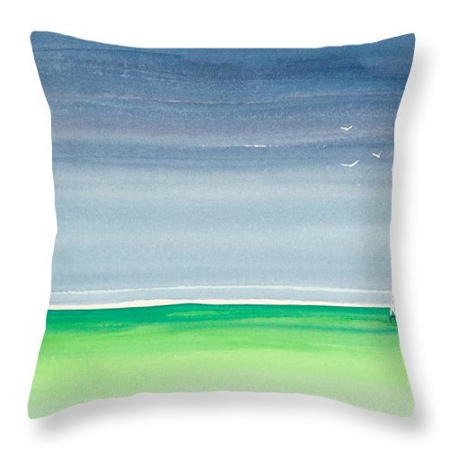 Seeking Refuge Before The Storm Alligator Reef Lighthouse Throw Pillow featuring the painting Seeking Refuge Before The Storm Alligator Reef Lighthouse by Michelle Constantine