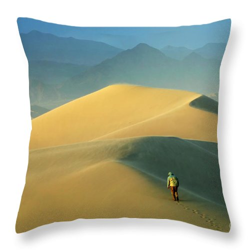 Death Valley Throw Pillow featuring the photograph Seeking Solitude by Bob Christopher