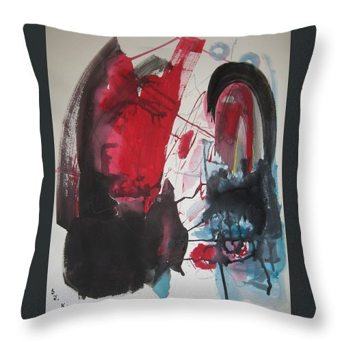Red Paintings Throw Pillow featuring the painting Seem To Happen Suddenly Original Abstract Colorful Landscape Painting For Sale Red Blue Green by Seon-Jeong Kim