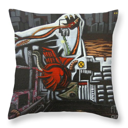 Painting Throw Pillow featuring the painting Self Portrait Assuming I Had Died Before I Lived by Mack Galixtar
