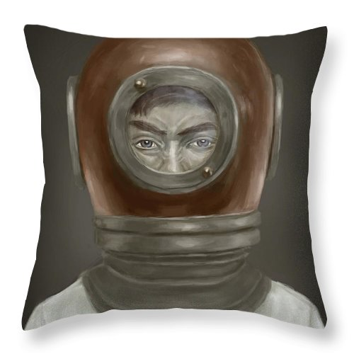 Digital Throw Pillow featuring the digital art Self Portrait by Balazs Solti