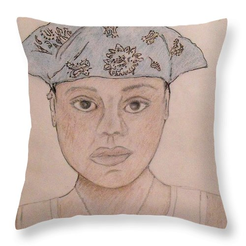 Girl Throw Pillow featuring the drawing Self Portrait - Cat by Catherine Ratliff