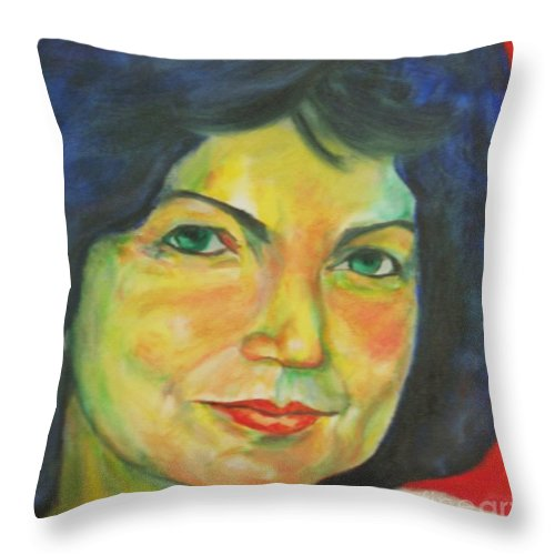 Selfportrait-original Throw Pillow featuring the painting Selfportrait by Dagmar Helbig