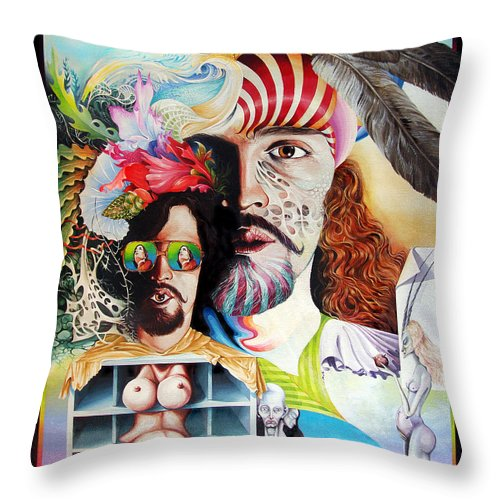 Surrealism Throw Pillow featuring the painting Selfportrait With The Critical Eye by Otto Rapp