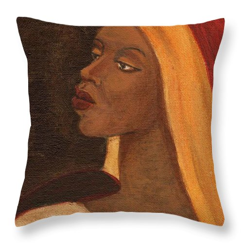 An African Woman Throw Pillow featuring the painting Semi-abstract- Woman by Asha Sudhaker Shenoy